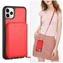 JLFCH iPhone 11 Pro Max Wallet Case, iPhone 11 Pro Max Crossbody Case with Zipper Credit Card Slot Holder Wrist Strap Lanyard Protective Cover Women/Girl Purse for iPhone 11 Pro Max, 6.5 inch - Red