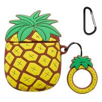 Mulafnxal Compatible with Airpods 1&2 Case,Cute Cartoon Character Silicone Airpod Funny Cover,Kawaii Fun Cool Keychain Design Skin,Fashion Cases for Girls Kids Teens Boys Air pods(3D Pineapple Ring)