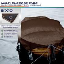 Windscreen4less 8' x 10' Super Heavy Duty 16 Mil Waterproof Dark Brown Poly Tarp