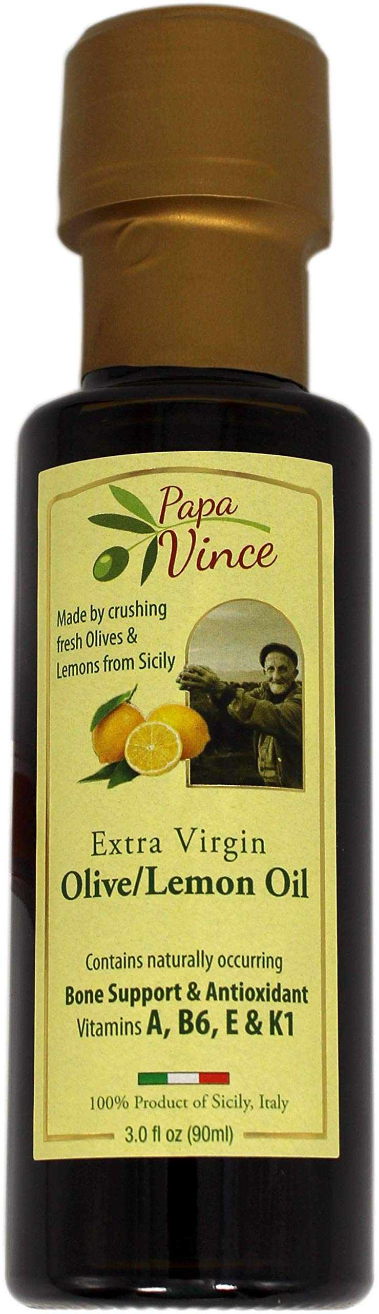 Papa Vince Lemon Olive Oil Extra: Virgin Single Estate from our family in Sicily, First Cold Pressed, Italy, Unblended, Unfiltered, Unrefined, Robust, Rich in Antioxidant 3 fl oz