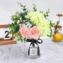 HEBE Ins Style Artificial Rose Flower Bouquet with Glass Vase Set 1 Piece Fake Rose Hydrangea Berry Leaf Plants Flower Arrangement in Vase for Wedding Party Desktop Home Decor