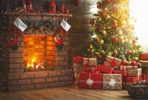 AOFOTO 8x6ft Christmas Living Room Interior Decoration Backdrop New Year Tree Fireplace Xmas Gift Box Photography Background Holiday Festival Party Decor Photo Studio Props Vinyl Portrait Wallpaper