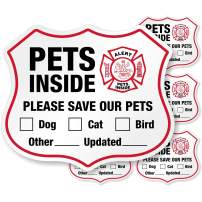 "SmartSign ""Pets Inside - Please Save Our Pets"" Shield Label 
