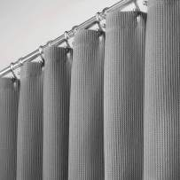 """mDesign Extra Long Premium 100% Cotton Waffle Weave Fabric Shower Curtain, Hotel Quality - for Bathroom Showers and Bathtubs, Super Soft, Easy Care - 72"""" x 96"""" - Gray"""