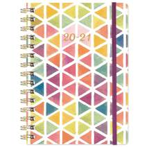 """2020-2021 Planner - Academic Weekly & Monthly Planner with Tabs, 6.3"""" x 8.4"""", July 2020 - June 2021, Hardcover with Back Pocket + Thick Paper + Banded, Twin-Wire Binding - Watercolor Triangle"""