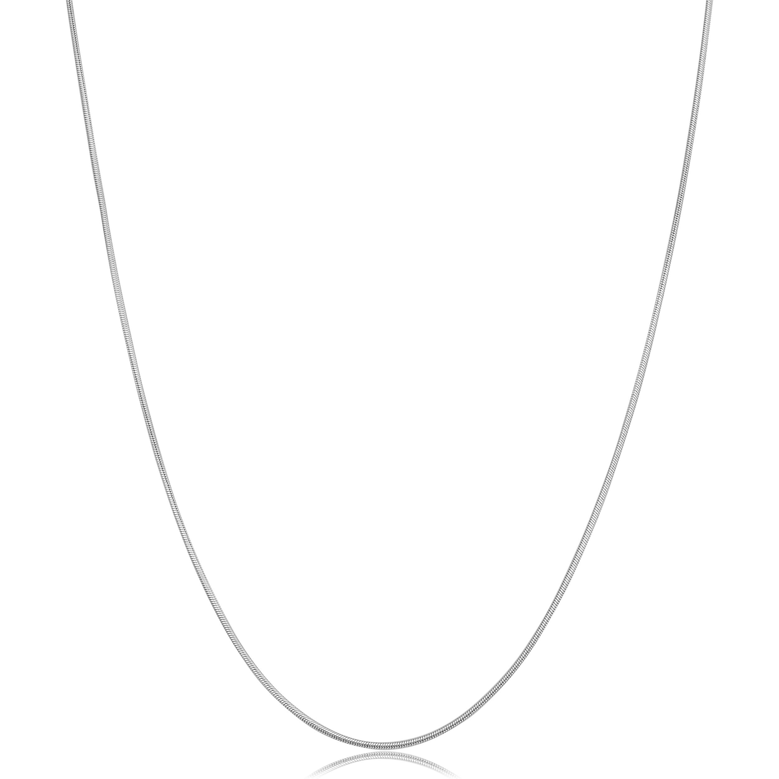 Kooljewelry 14k White Gold 0.8 mm Round Snake Chain Necklace