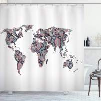 """Ambesonne Floral World Map Shower Curtain, Paisley Leaves Ornamental Eastern Style Old Fashioned Design, Cloth Fabric Bathroom Decor Set with Hooks, 75"""" Long, Turquoise Coral"""