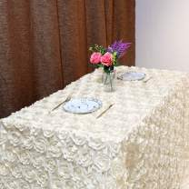 """Fanqisi Rosette Tablecloth 50""""x102"""" Satin Raised Rosettes Ivory Rectangle 3D Floral Tablecloth for Baby Shower Wedding Party Event Decoration"""