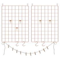 SONGMICS Grid Panel, Photo Wall Display, Metal Mesh Wall Decor, Multifunctional Hanging Picture Wall, DIY, Art Display, S Hook, Clip, Hemp Cord, Set of 2, Rose Gold, ULPP01DR