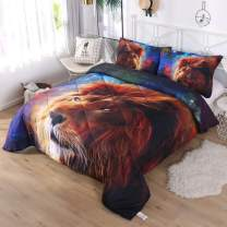DECMAY 3D Gold Lion Bedding with Blue Mythical Starship Print Galaxy Space Comforter Set for Kids and Adults 3 Pieces Box Stitched Durable Quilt Set, Full Size