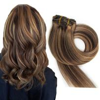 120g Remy Clip in Hair Extensions bayalage highlights Real Human Hair Extensions for Women 7PCS Per Set, 40cm 45cm 50cm 55cm with Different Colors(50cm, No.4/27 Middle Brown to Honey Blond) for Party