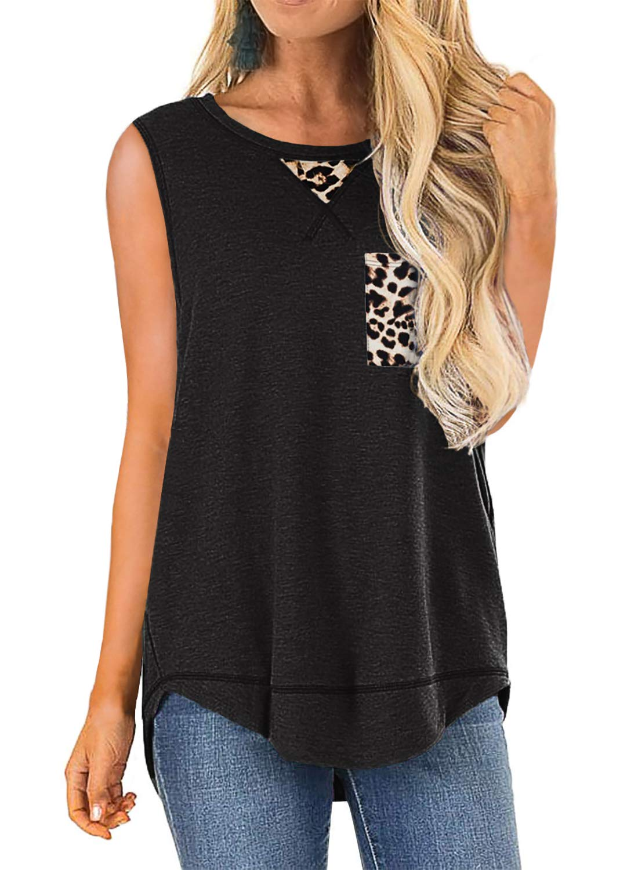 Chase Secret Womens Summer Casual Tops Sleeveless Cute Leopard Detail Print Shirts Tank Tops(S-XXL)