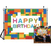 SJOLOON 7x5ft Baby Birthday Backdrop Blocks Photography Backdrop Colorful Birthday Party Decoration Banner for Boy Girl 11496