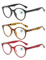 Pintimi 3 Pack Blue Light Blocking Glasses Men Women Computer Gaming Glasses Vintage Thick Round Eyeglasses Frame