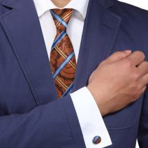 Y&G Men's Fashion Various of Colors Checkers Necktie Buy for Groom Mens Silk Tie Cufflinks 2PT