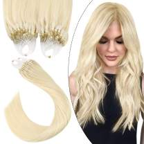 Ugeat Hair Extensions Micro Loop 20inch Micro Ring Hair Extensions Human Hair 50Gram 1g/Strand Human Hair Extensions Micro Beads Color #60 Platinum Blonde Micro Links Hair Extensions