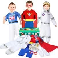 Boys Dress up Trunk Costumes Set, Jeowoqao Kids Dress up Clothes Set, Superman, Astronaut, Footballer Costume for Children Ages 3-6