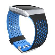 SKYLET Compatible with Fitbit Ionic Band, Soft Silicone Breathable Replacement Sport Wristband Compatible Fitbit Ionic Smartwatch Men Women (Black-Blue, Large)