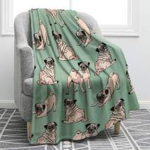 "Jekeno Pug Dog Blanket Cartoon Smooth Soft Print Blanket Kid Baby for Sofa Chair Bed Office Travelling Camping 50""x60"""