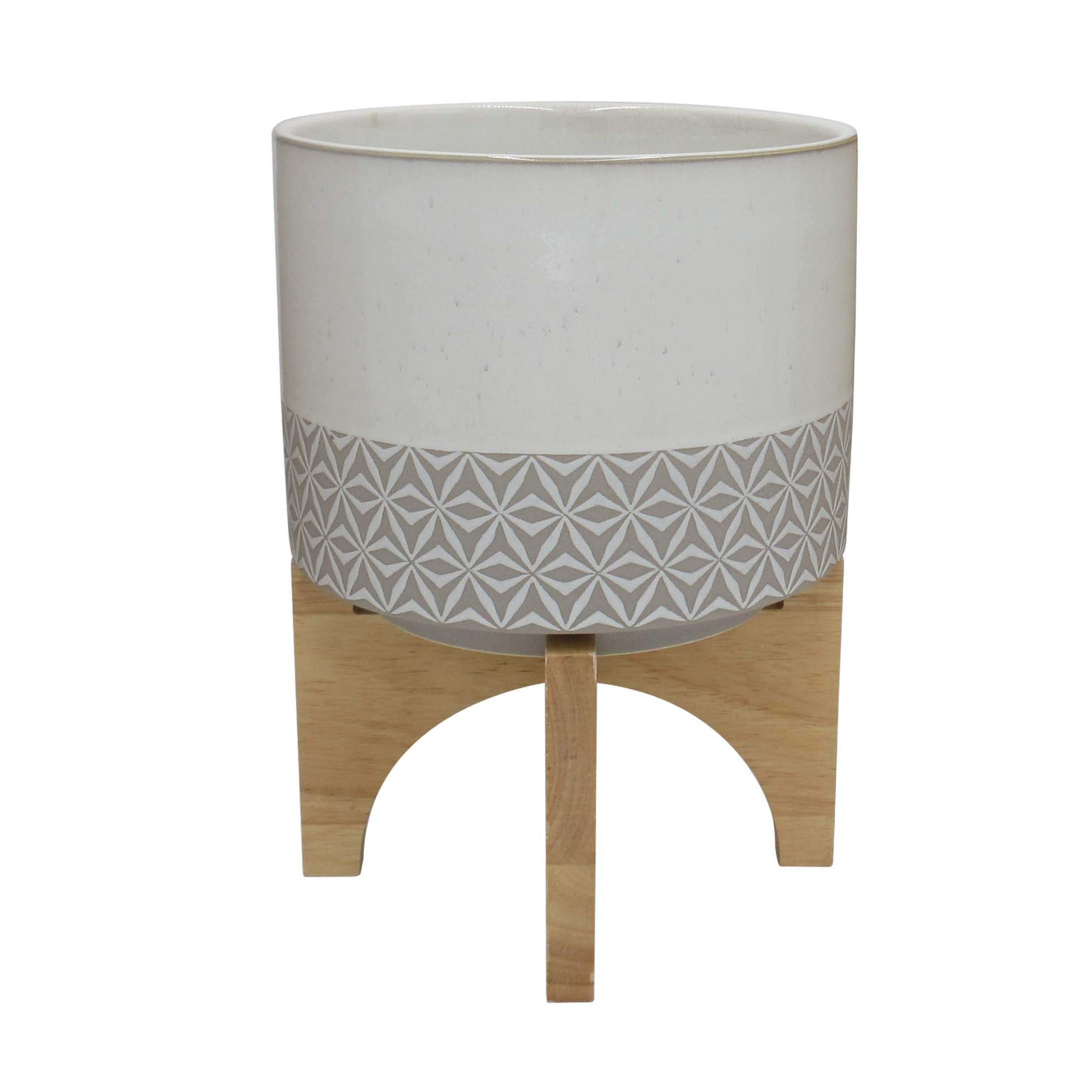 """Amazon Brand – Rivet Mid-Century Stoneware Planter with Wood Stand, 10.43""""H, Gray and Beige"""