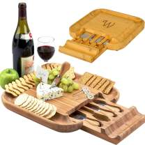 Picnic at Ascot Personalized Monogrammed Engraved Bamboo Cutting Board for Cheese & Charcuterie with Knife Set & Cheese Markers- Designed & Quality Checked in USA