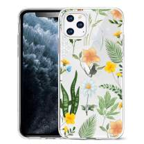 Unov Clear with Design for iPhone 11 Pro Case Slim Protective Soft TPU Bumper Embossed Pattern Cover 5.8 Inch (Seasons Flowers)