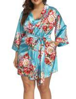 Allegrace Women's Plus Size Floral Print Wrap Front Satin Kimono Robes Sexy Nights Short Pajamas