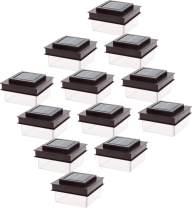 GreenLighting Translucent 12 Lumen LED Solar Powered Post Cap Light for 4x4 Wood Posts (12 Pack, Dark Brown)