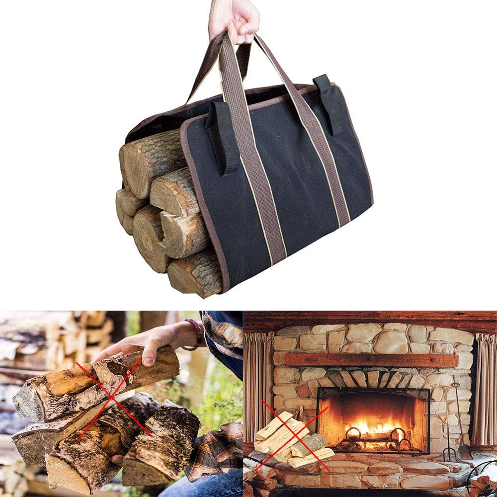 Parkside Wind Wood Carrier Firewood Tote Water Resistant Canvas Log Carry Bag Durable Wood Holder Stove Accessories