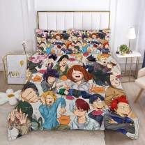 ZYLD My Hero Academia Bed Set Full Size 3D Anime Bedding Sets 3pcs Duvet Cover Set for Boys Child Teens Girls 1 Quilt Cover + 2 Pillowcases (No Comforter)