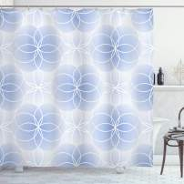"""Ambesonne Geometry Shower Curtain, Proportion of The World with Intersecting Concentric Spiral Art, Cloth Fabric Bathroom Decor Set with Hooks, 70"""" Long, Pale Blue"""