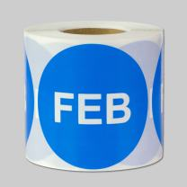 """2"""" Round - 1 Roll February Months of The Year Labels Color Coding Dot Round Self Adhesive Stickers (Blue White) - 300 Labels per Package"""