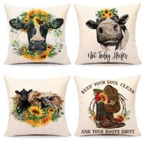 4TH Emotion Sunflower Cow Pillow Covers 18x18 Set of 4 Spring Summer Farmhouse Decor Holiday Decorations Throw Cushion Case for Home Couch
