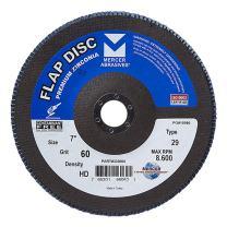 "Mercer Industries 333060 Zirconia Flap Disc, High Density, Type 29, 7"" x 7/8"", Grit 60, 10 Pack"