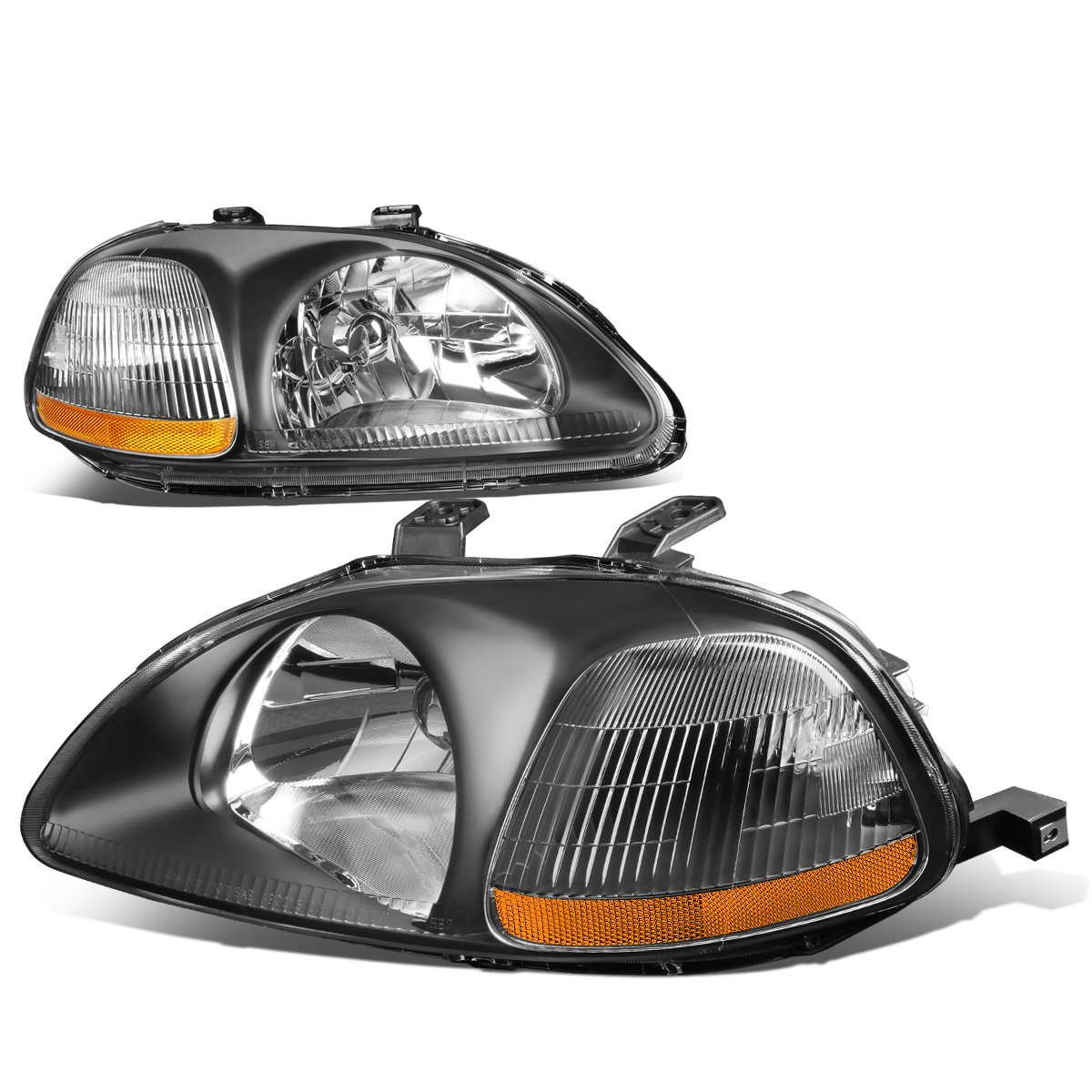 Pair of Black Housing Amber Corner Headlight Assembly Lamps Kit Replacement for Honda Civic 96-98