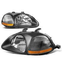 Pair of Black Housing Amber Corner Left+Right Headlight Assembly Lamps Kit Replacement for Honda Civic 96-98