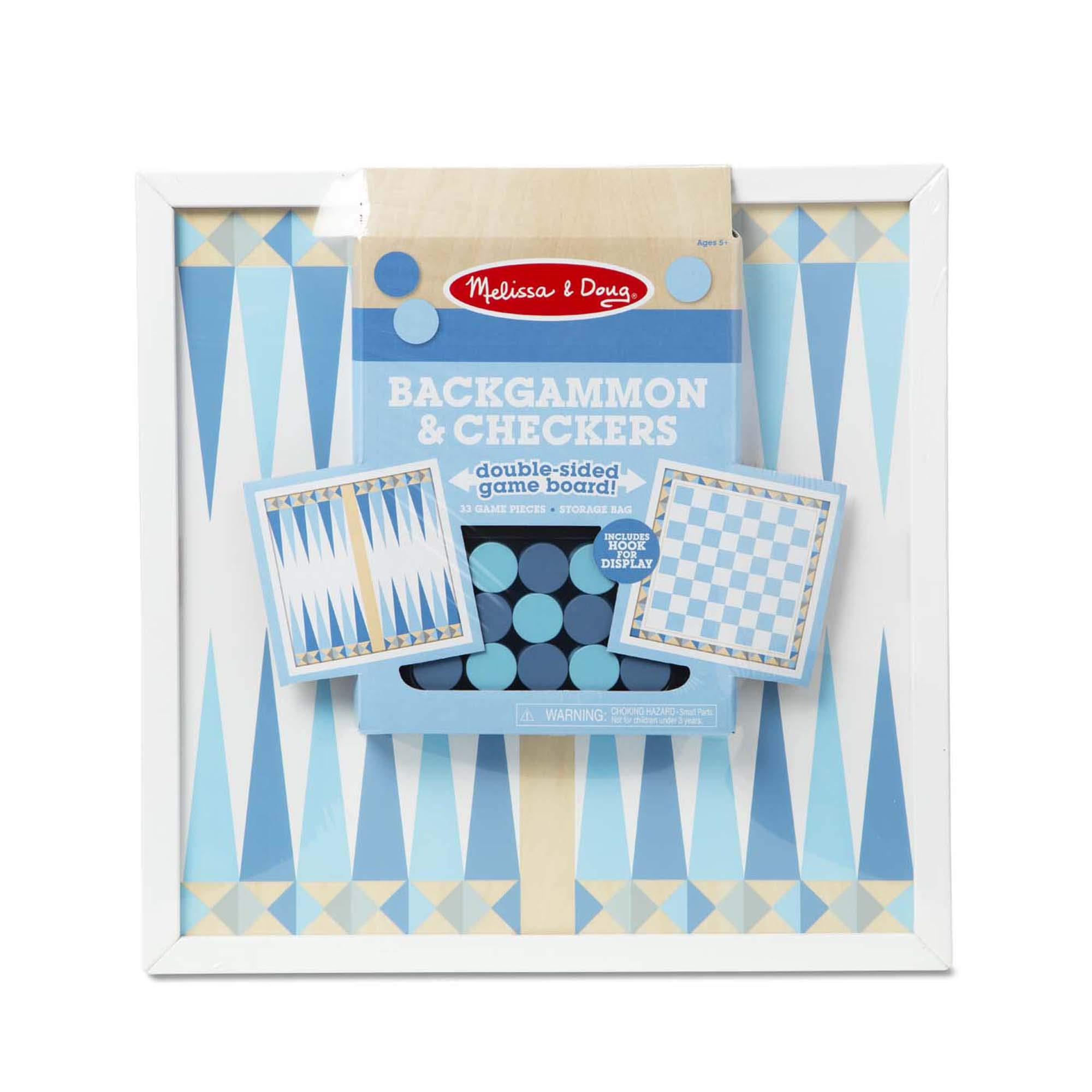 """Melissa & Doug Double-Sided Wooden Backgammon & Checkers Board Game - Blue (33 Game Pieces, 17.5"""" W x 17.5"""" L x 1.5"""" D), Great Gift for Girls and Boys - Best for 6, 7, 8 Year Olds and Up"""