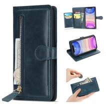 L-FADNUT Case for iPhone 11 Pro Wallet Case 5 Card Slots Premium Leather Zipper Purse Case Flip Kickstand Folio Magnetic Phone Case Handbag Protective Cover for iPhone 11 Pro Dark Blue