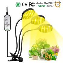 Grow Light, 360 Degree Gooseneck Clip Triple Head 45w Plant Lights for Indoor Plants, 5 Dimmable Level 4/8/12H Auto Cycle ON/Off Timer Growing Lamp for Garden Seeds Herb Succulent Orchid [Upgraded]