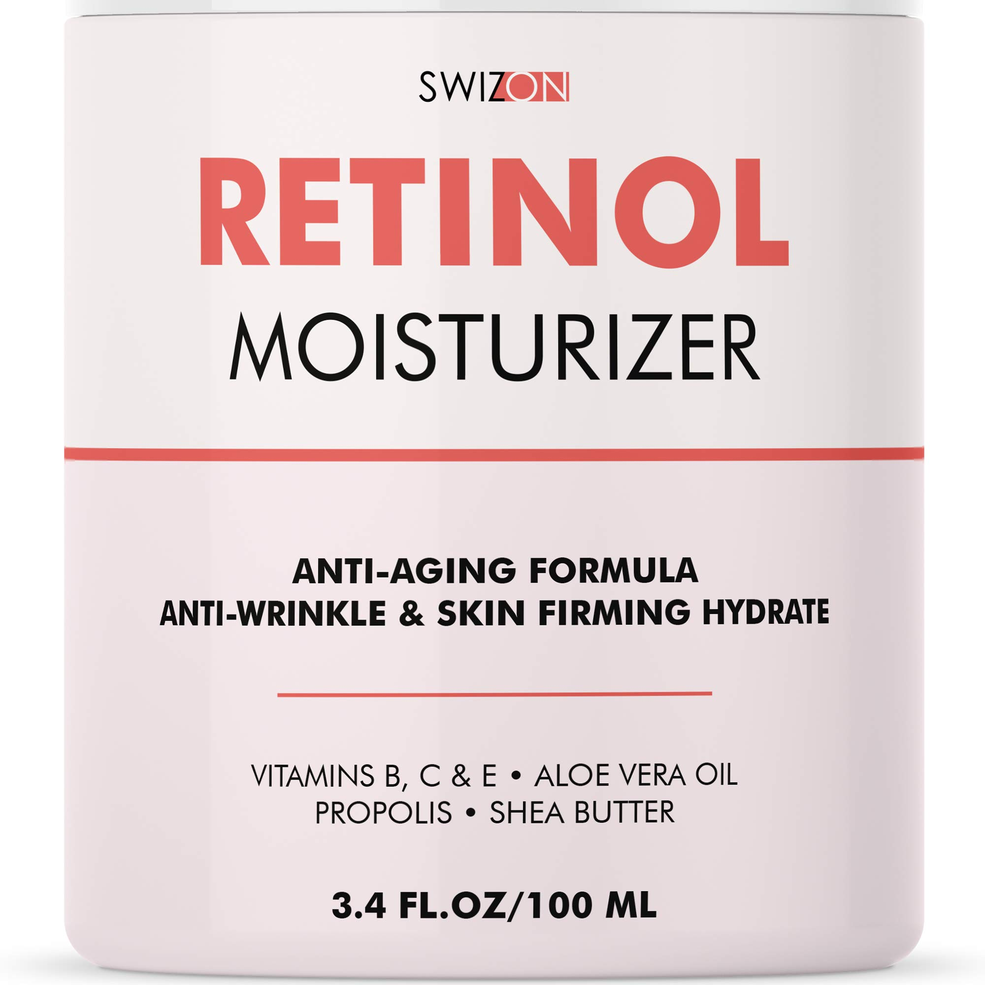 3% Retinol Cream - Natural Moisturizer with Vitamin A, Aloe Vera, Hyaluronic Acid for Face, Neck and Décolleté Skin Care - Best Anti-Aging Wrinkle Cream that Really Works - 3.4oz