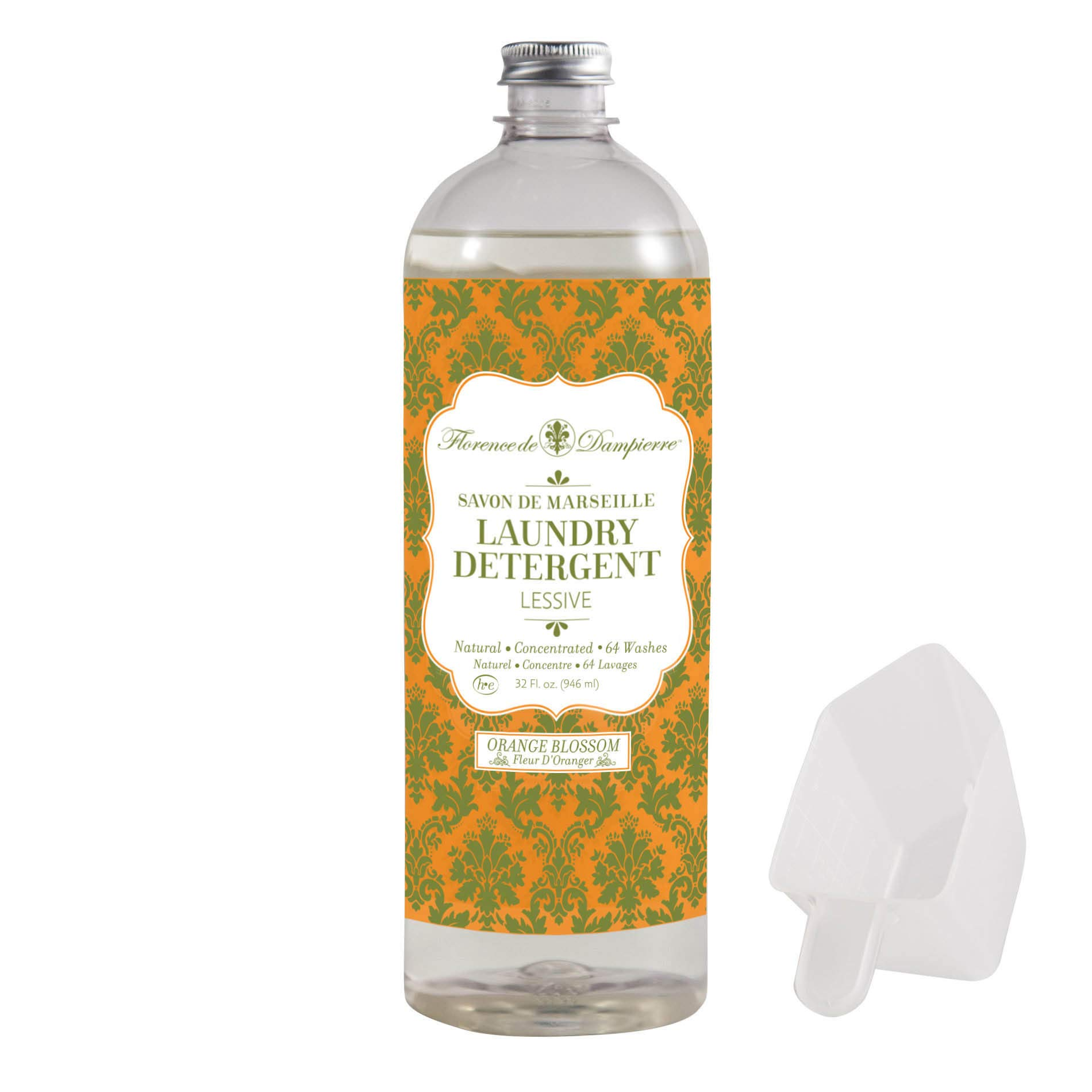 Florence de Dampierre 64 Load, Organic and All-Natural Savon de Marseille Soap, Liquid Laundry Detergent, 32 oz. Orange Blossom