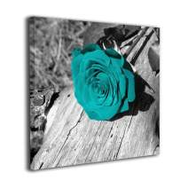 """Ale-art Black White Teal Rose Flower Oil Paintings On Canvas Modern Canvas Wall Art Contemporary Artwork for Wall Decorations Home Decor 16""""x16"""""""