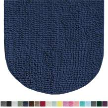 Gorilla Grip Original Luxury Chenille Oval Bath Rug Mat, 42x24, Extra Soft and Absorbent Large Shaggy Bathroom Rugs, Machine Wash Dry, Plush Carpet Mats for Tub, Shower, and Bath Room, Navy Blue