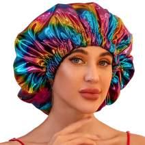 Satin Bonnets for Black Women, Silk Bonnet for Curly Hair Bonnets for Black Women Sleeping Cap Satin Bonnet for Braids (X-Large, Black)