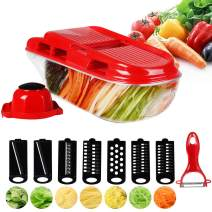 MIGECON Manual 7 in 1 Mandoline Slicer Adjustable Thickness Vegetable Chopper Multi Blade Cutter for Potato, Cucumber, Cabbage, Carrot, Garlic