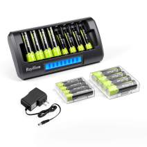 RayHom Charger with AA AAA Batteries - 8Bay Smart LCD Battery Charger for AA AAA Ni-MH Ni-Cd Rechargeable Batteries with AA Rechargeable Batteries(8 Pack) and AAA Rechargeable Batteries(8 Pack)