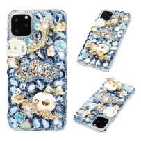 iPhone 11 Pro Max Case - Mavis's Diary 3D Handmade Luxury Bling Blue Crown Golden Pumpkin Car High-Heeled White Swan Rose Shiny Crystal Diamonds Glitter Rhinestones Gems Clear Hard PC Cover