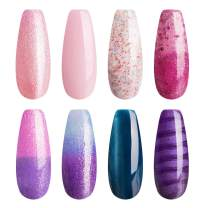 Candy Lover Luxury Gel Nail Polish Set, 8 Mixed Colors Shimmering Glitter Temperature Changing Cat Eye Selected Christmas Kit, Soak Off UV/LED Home Nail Art Manicure Varnish Gift Set