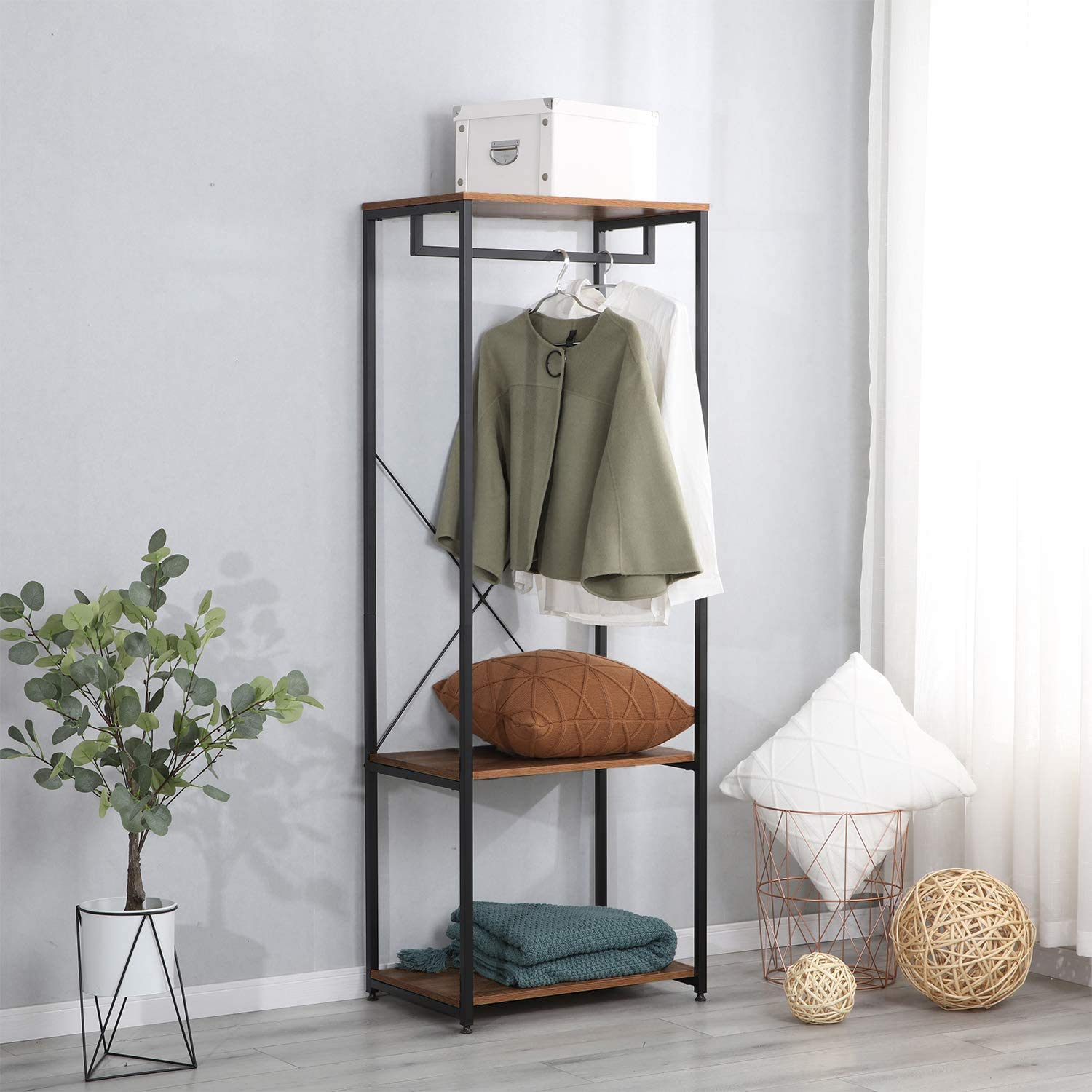 COMHOMA Coat Rack, Hall Tree Entryway Shoe Bench, Storage Shelf Organizer, Accent Furniture with Metal Frame