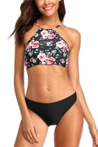 ALove Womens Floral Striped Bikini Set High Neck Two Pieces Swimsuits Bathing Suits